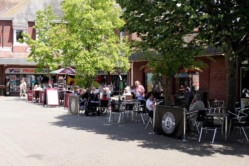 Cafe in Saxon Square Christchurch Dorset June 2010