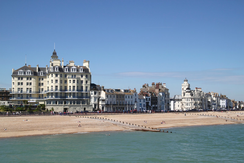 Queens Hotel and beach at Eastbourne East Sussex
