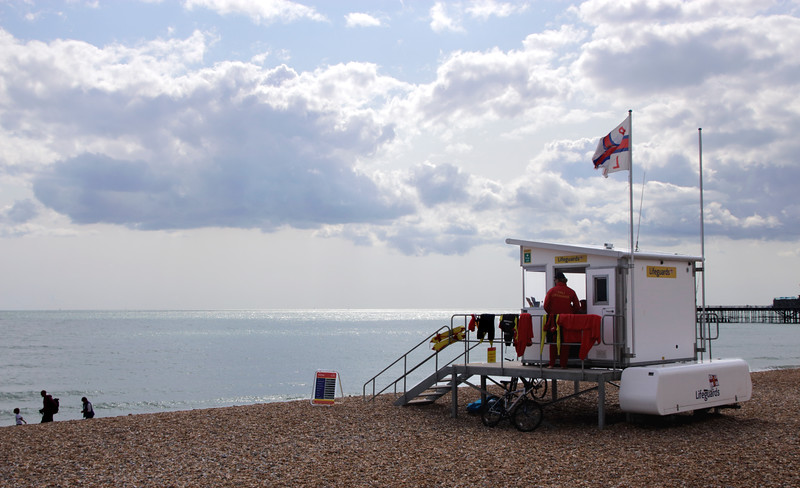 Lifeguard hut on Hastings beach East Sussex