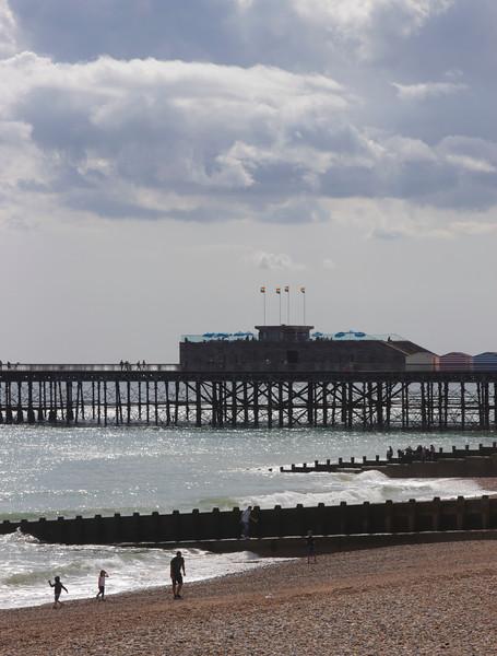 Hastings beach and pier East Sussex UK