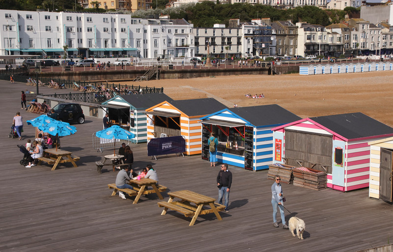 Huts on new Hastings pier summer 2018