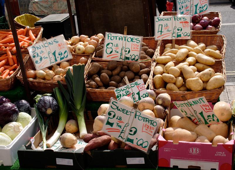 Vegetable stall in High Street Lymington Hampshire