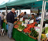 Fruit and vegetables stall in Lymington High Street Hampshire