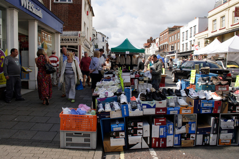 Street Market at High Street Lymington Hampshire September 2009