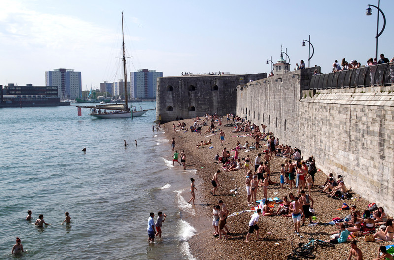 Old City Walls and beach Portsmouth Hampshire