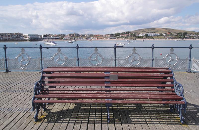 Bench on Swanage Pier Dorset England