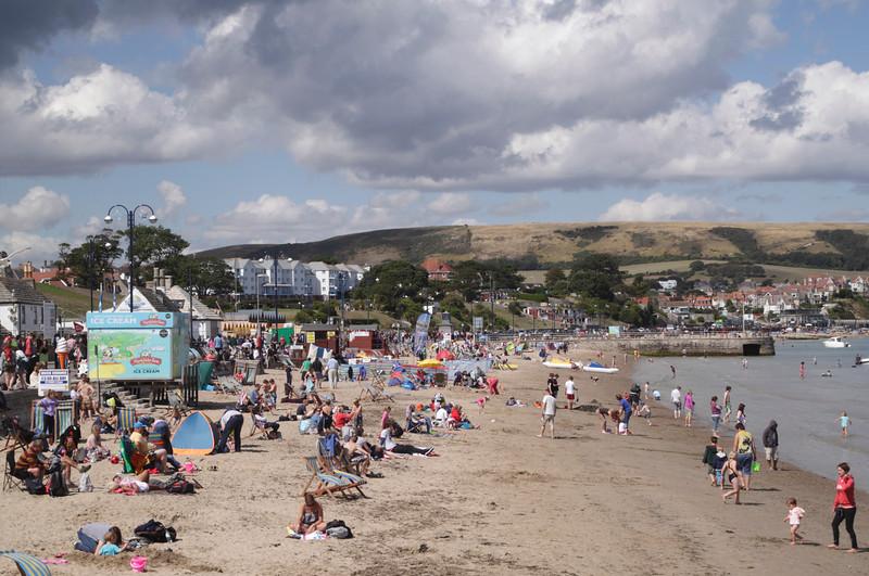 Swanage beach Dorset summer 2014