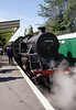 Standard 4 Tank steam locomotive at Swanage railway station Dorset