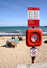 Swanage beach and lifeguard ring Dorset