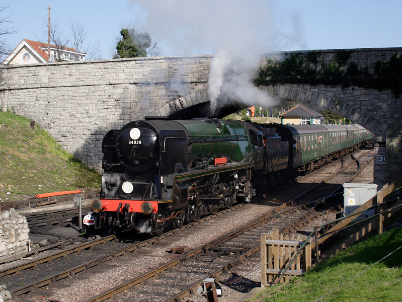 Bullied rebuilt West Country Pacific steam locomotive at Swanage Dorset