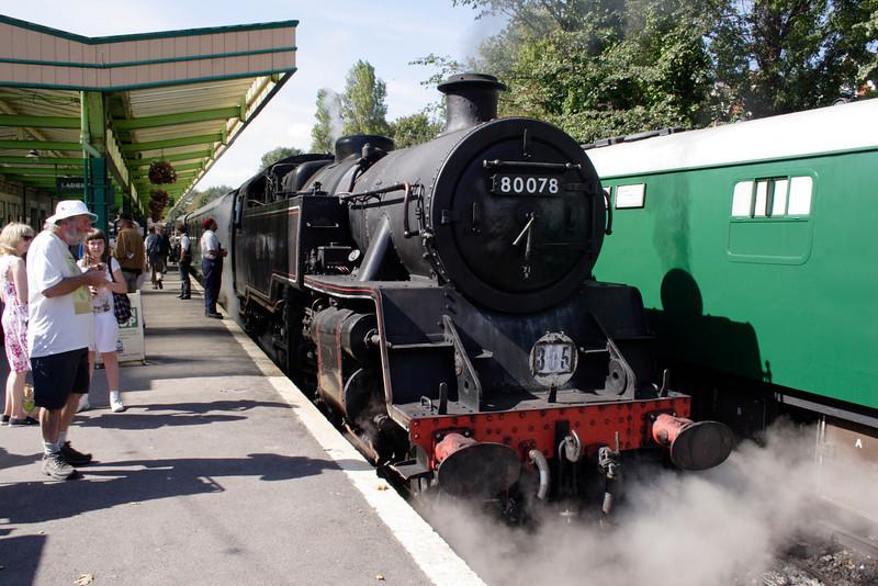 Standard 4 Tank steam locomotive at Swanage railway station Dorset