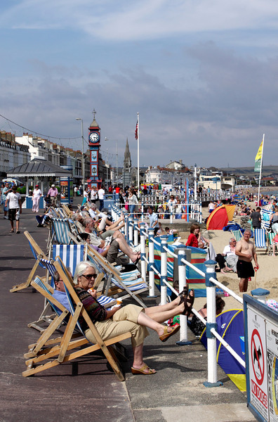 Deck chairs at Weymouth seafront Dorset summer 2010