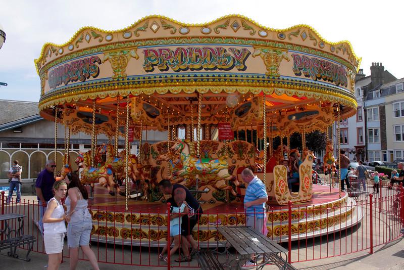 Carousel at Funfair Weymouth Dorset summer 2010