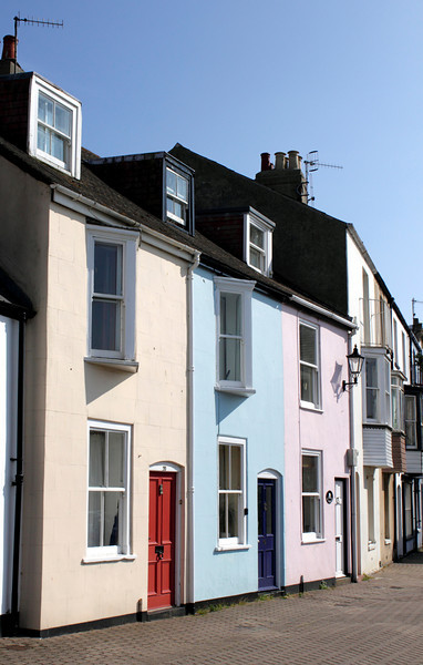Colourful terraced houses at quayside of Weymouth Harbour