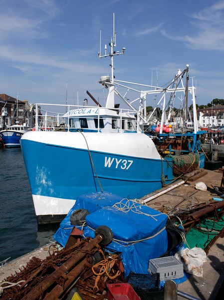 Fishing boat moored at Weymouth Harbour Dorset