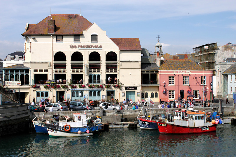 The Rendezvous and The Royal Oak bar at Weymouth Harbour Dorset