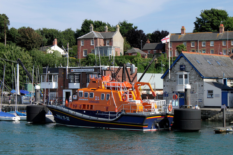 Life boat moored at Weymouth Harbour Dorset