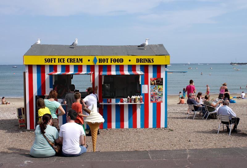 Ice Cream and Hot Food kiosk at Weymouth beach Dorset August 2010