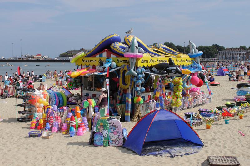 Swimwear and Beach Toys kiosk at Weymouth Beach summer 2010