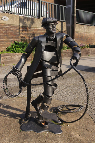 Canal Bargeman statue by River Wey Guildford Surrey