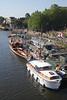 Boats moored at riverside Richmond Upon Thames Surrey 2012