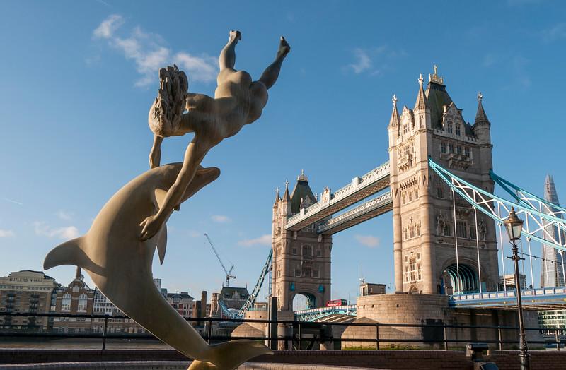 Sculpture and Tower Bridge, London