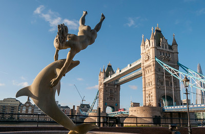 Sculpture and Tower Bridge, London