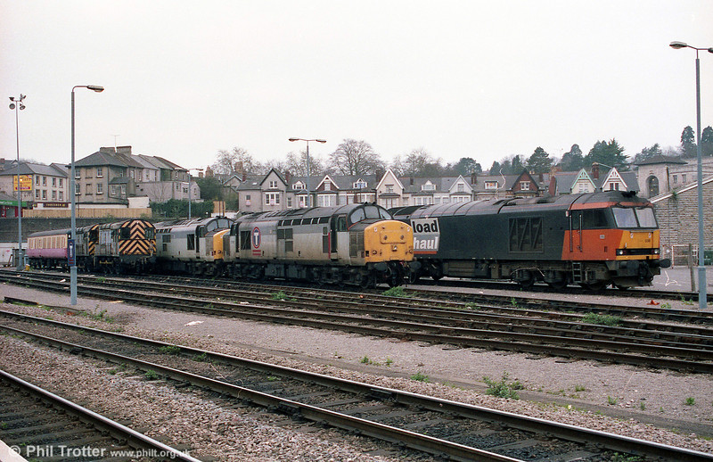60038 and a brace of older locomotives stabled at Newport during 2002.