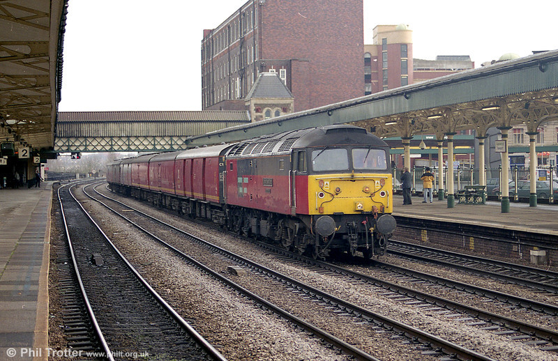 47734 'Crewe Diesel Depot' heads a mail train west through Newport on 2nd February 2001.