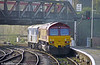 73133 'The Bluebell Railway' heads through Newport with 66015 in tow during November 1998.