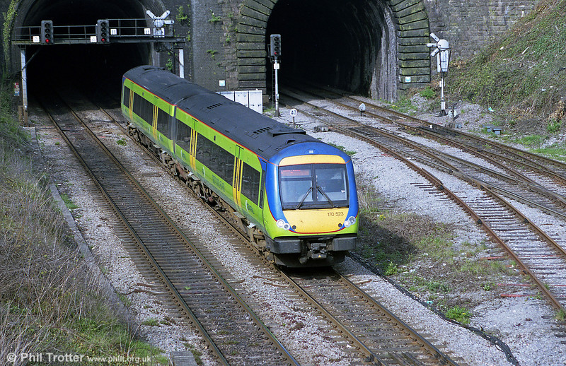Central's 170523 emerges from Newport Tunnel on 9th April 2002.