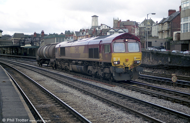 A light load for 66205 at Newport in 2001.