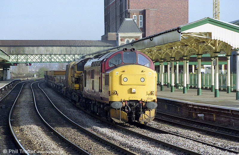 37174 passes through Newport with a permanent way train in the 1990s.