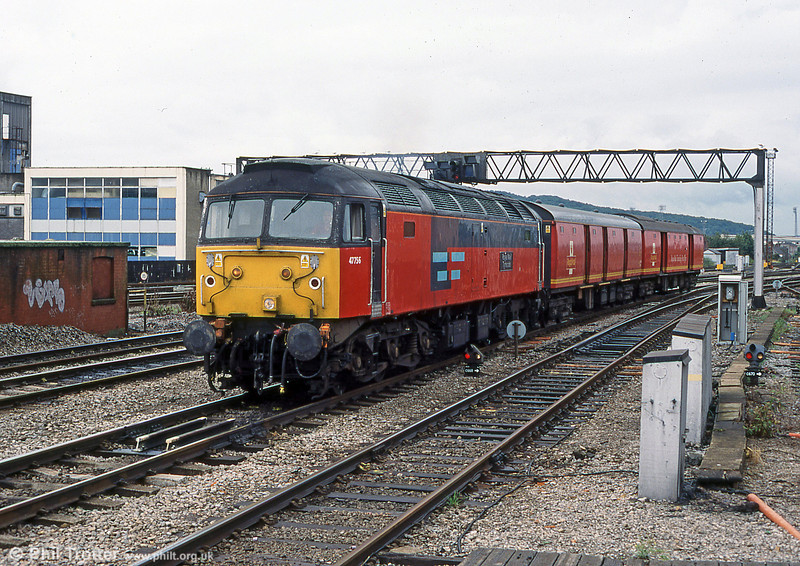 The now vanished sight of a class 47 working a postal service. This is 47756 'Royal Mail Tyneside' at Cardiff.