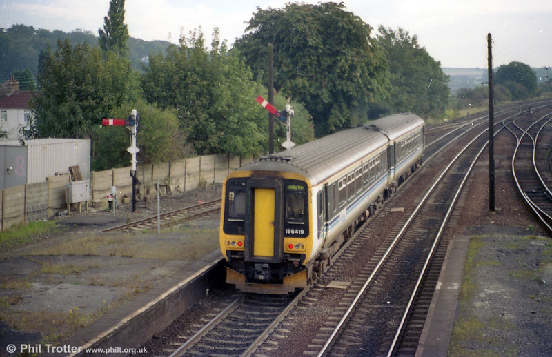 Central Trains 156419 departs from Barnetby with a service for Grimsby.