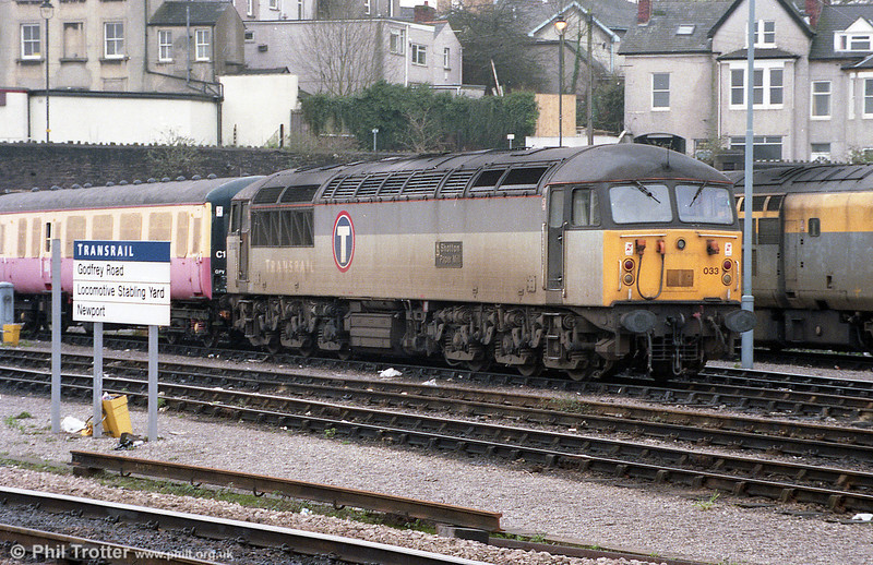 56033 'Shotton Paper Mill' stabled at Newport, Godfrey Road on 12th January 1998.