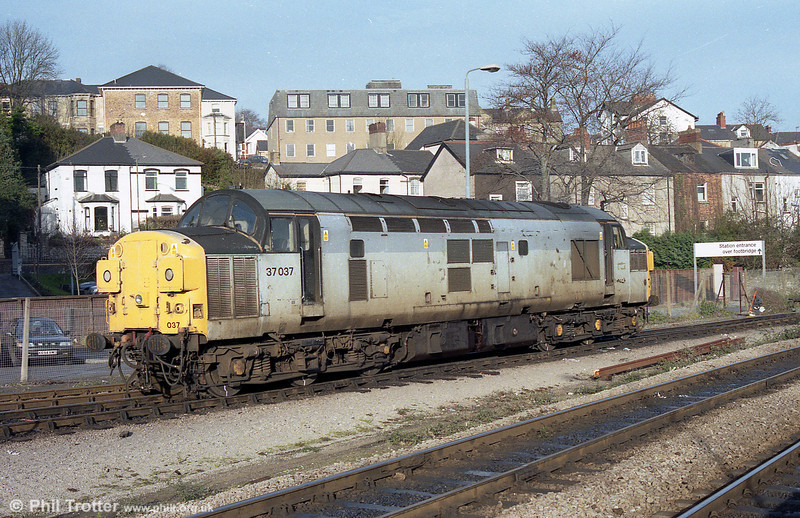 37037 at Newport, Godfrey Road in the late '90s. After a spell in France, the 1962-built loco has been restored to original condition by the Devon Diesel Society at the South Devon Railway.