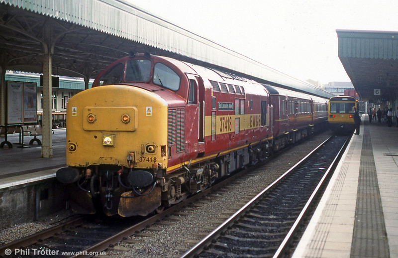 37418 'East Lancashire Railway' at Cardiff Central with a Valley Lines service.