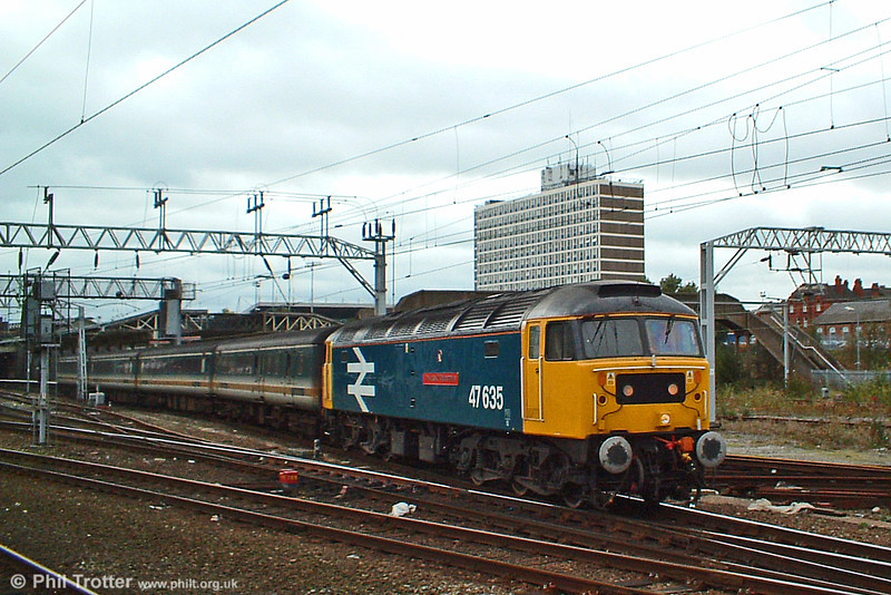 47635 'The Lass O' Ballochmyle' leaves Crewe with 1D75, the 1529 Crewe to Holyhead service on 8th October 2003.