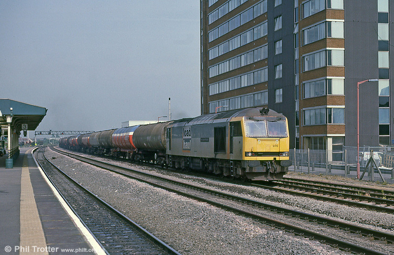 Load Haul's 60070 'John Loudon McAdam' passing Swindon with a Milford Haven-bound oil train in September 2001.