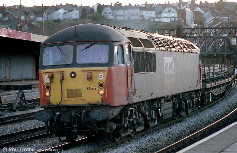 LoadHaul liveried 56055 heads through Newport on 16th January 1998.
