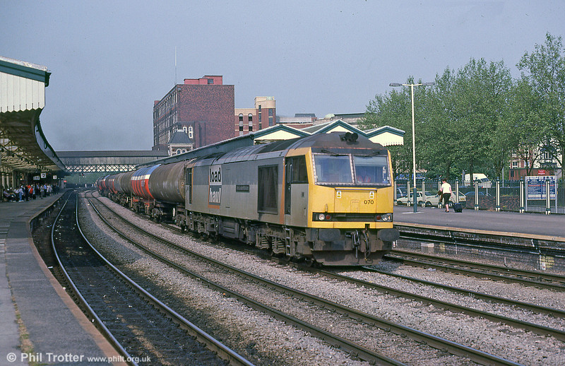 Load Haul's 60070 'John Loudon McAdam' passing Newport with a Milford Haven-bound oil train in September 2001.