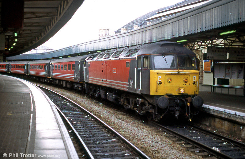 Virgin class 47 no. 47814 'Totnes Castle' preparing to leave Bristol Temple Meads with a cross country service for the north in September 2001.