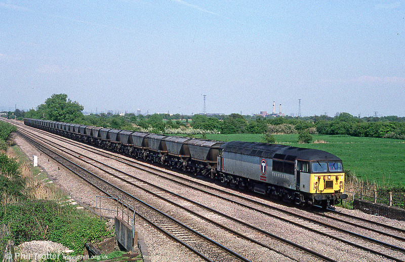 Later the same afternoon (13th May 1996) 56119 returns past Coedkernew with 6B58, 1653 Llanwern to Margam.