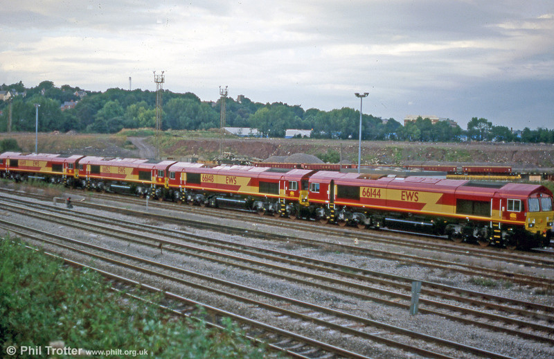 Straight from unloading at Newport Docks, 66144, 66148, 66152 and 66149 are seen at ADJ in 1999.