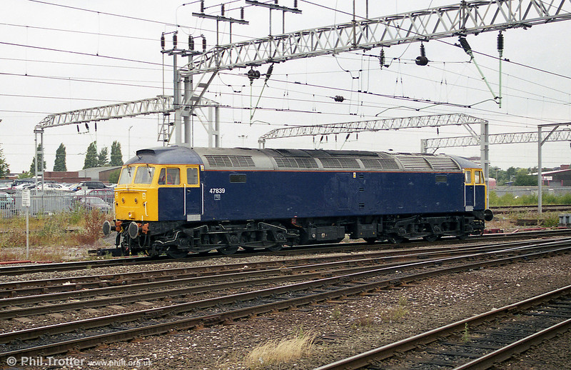 Riviera Trains 47839 is seen light at Crewe during 2003.