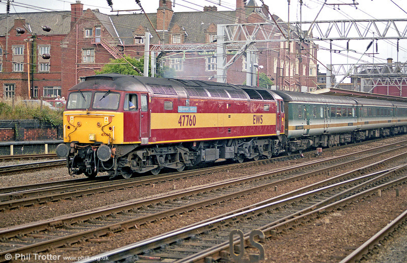 47760 'Ribblehead Viaduct' heads former FGW stock through Crewe in June 2003.