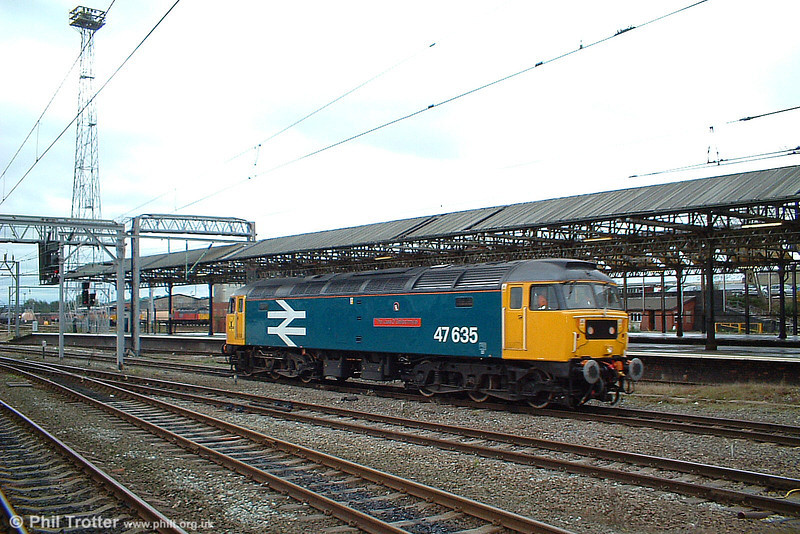47635 'The Lass O' Ballochmyle' at Crewe ready to take over a North Wales coast service on 8th October 2003.