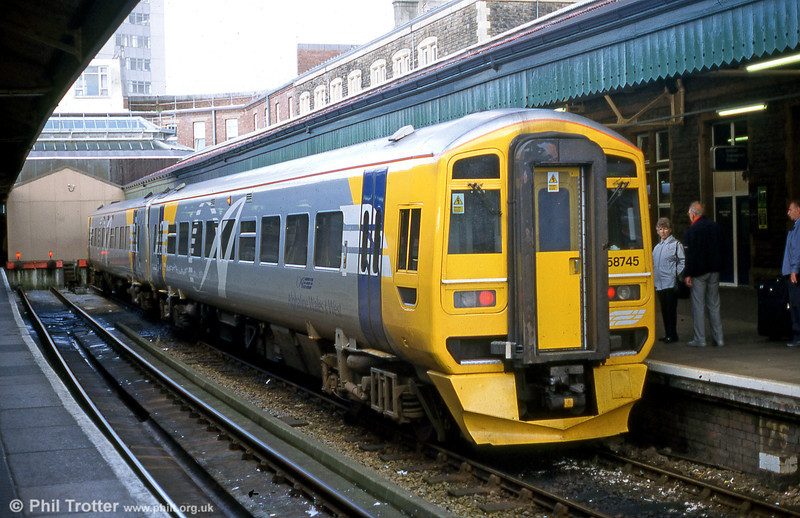 158745 shows off its experimental Wales & West Railways livery at Swansea in June 2000.
