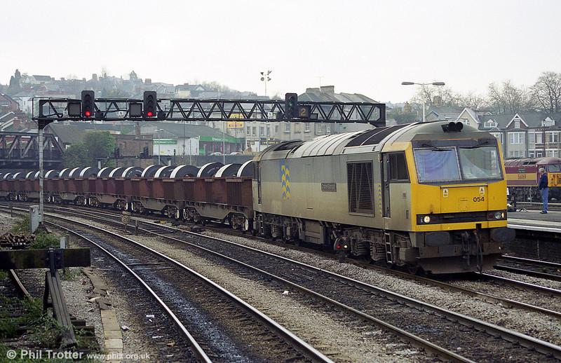 60054 'Charles Babbage' with steel coils at Newport in November 1998.